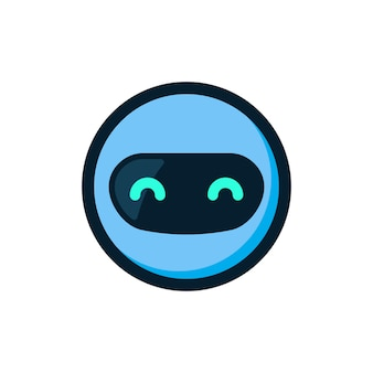 Blauwe robot mascotte logo pictogram vector
