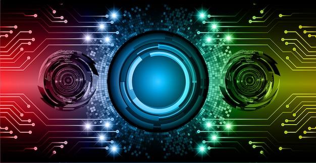 Blauwe rode gele toekomstige cyber de technologieachtergrond van de oogkring