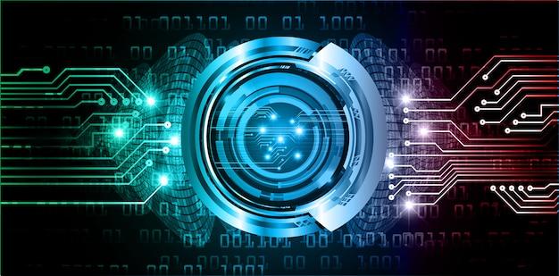 Blauwe rode oog cyber kring toekomstige technologie concept achtergrond