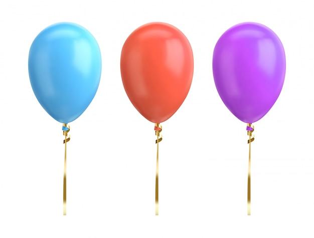 Blauwe, rode, violette ballonillustratie op witte achtergrond. glanzende realistische ballon voor verjaardagsfeestje.