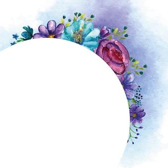 Blauwe ronde bloemboeketten voor wenskaartsjabloon