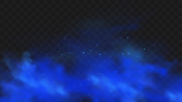 Blauwe rook geïsoleerd op donkere transparante achtergrond. realistische blauwe magische mistwolk, chemisch giftig gas, stoomgolven.