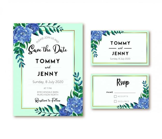 Blauwe roos vintage aquarel bruiloft uitnodiging