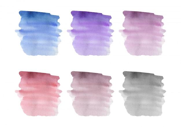Blauwe, roze, paarse penseelstreek aquarel textuur. vector illustratie.