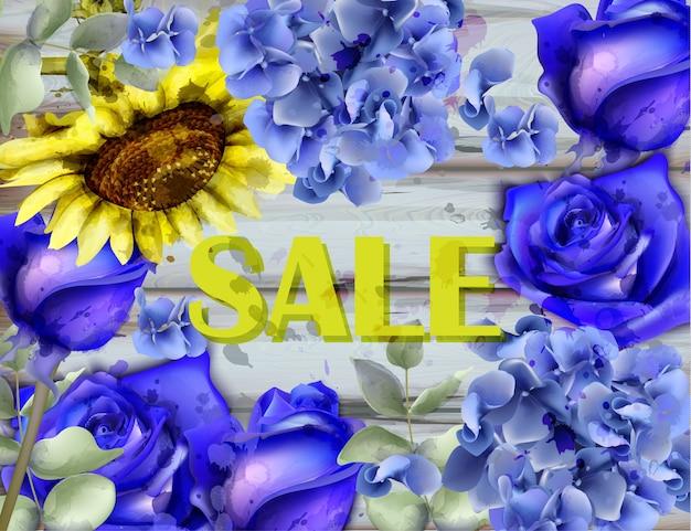 Blauwe rozen en zonnebloem waterverfachtergrond