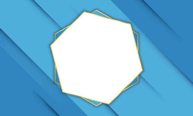 Blauwe schaduwlijnen met gouden zeshoekig frame. patroon voor uw banner.