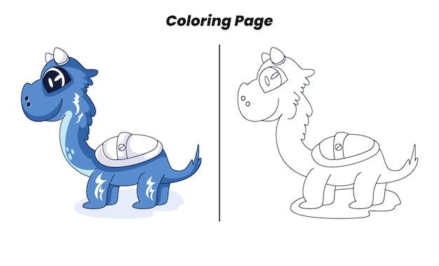 Blauwe schattige dinosaurus met kleurplaat