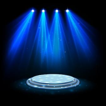 Blauwe schijnwerpers met wit podium op donkere achtergrond