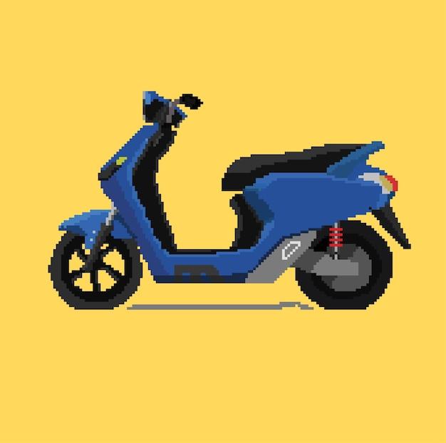 Blauwe scooter automatisch met pixel art-stijl