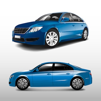 Blauwe sedanauto die op witte vector wordt geïsoleerd