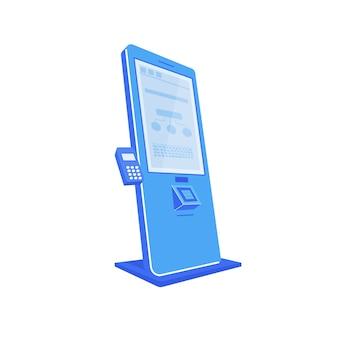 Blauwe self-service kiosk egale kleur-object