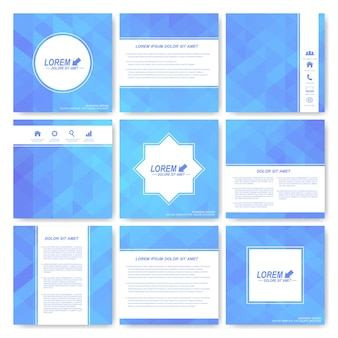 Blauwe set van brochure.