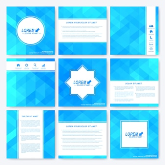 Blauwe set van vierkante sjabloonbrochure.