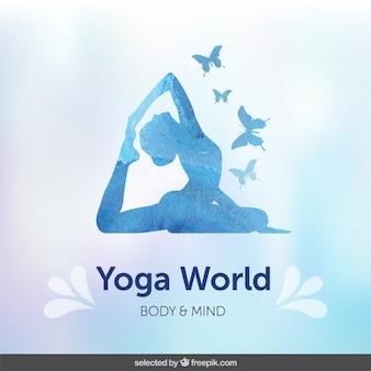 Blauwe silhoutte yoga achtergrond