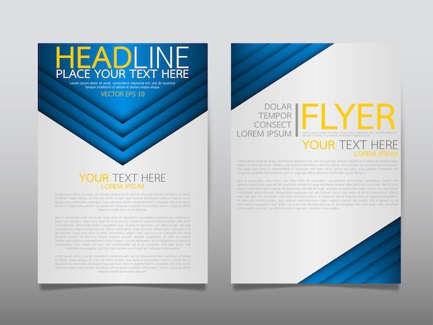 Blauwe sjabloon dekking zakelijke brochure lay-out.