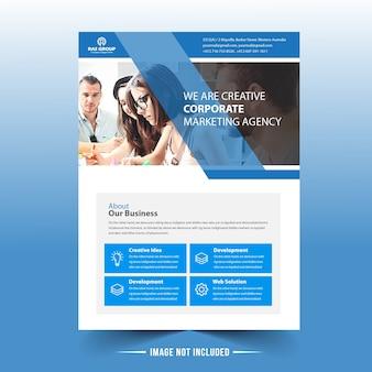 Blauwe sjabloon voor business flyer