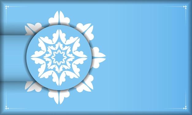 Blauwe sjabloon voor spandoek met mandala wit patroon en plaats onder uw tekst