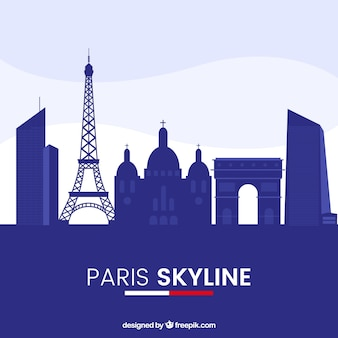 Blauwe skyline van parijs