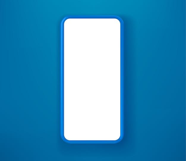 Blauwe smartphone op blauwe achtergrond