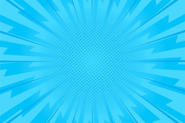 Blauwe snelheid komische stijl achtergrond