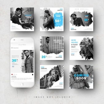 Blauwe social media instagram feed post banner bundle