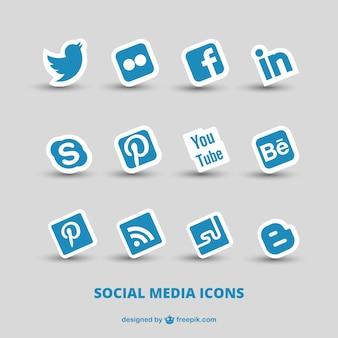 Blauwe sociale media iconen