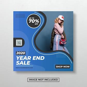 Blauwe sociale media na verkoop evenement vierkante ontwerpsjabloon