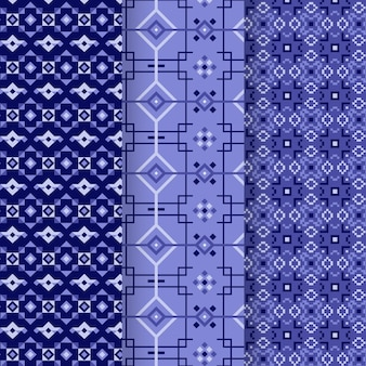 Blauwe songket patrooncollectie