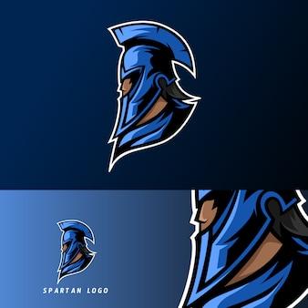 Blauwe spartan warior mascotte sport esport logo sjabloon met masker