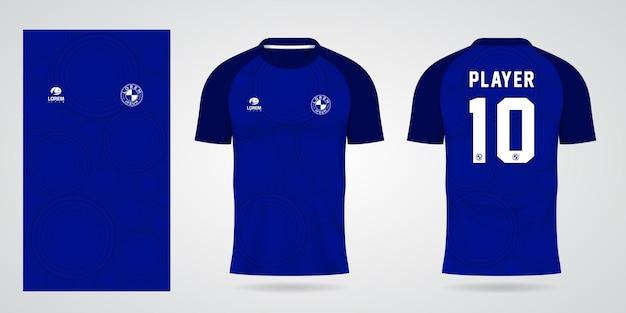 Blauwe sportjerseysjabloon voor teamuniformen en voetbalt-shirtontwerp