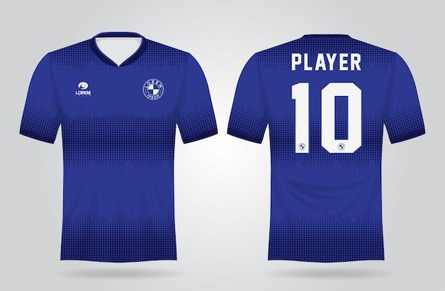 Blauwe sporttrui sjabloon voor teamuniformen en voetbal t-shirtontwerp