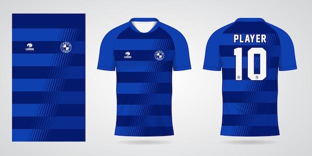Blauwe sporttrui-sjabloon voor teamuniformen en voetbalt-shirtontwerp