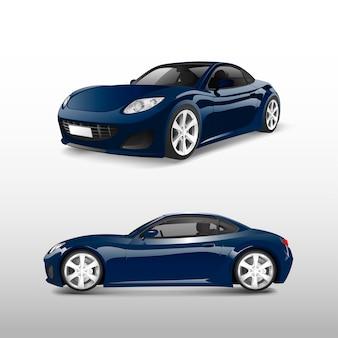 Blauwe sportwagen die op witte vector wordt geïsoleerd