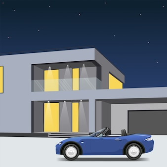 Blauwe sportwagen geparkeerd naast een huis met een garage