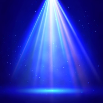 Blauwe stadiumverlichting met schijnwerpersachtergrond