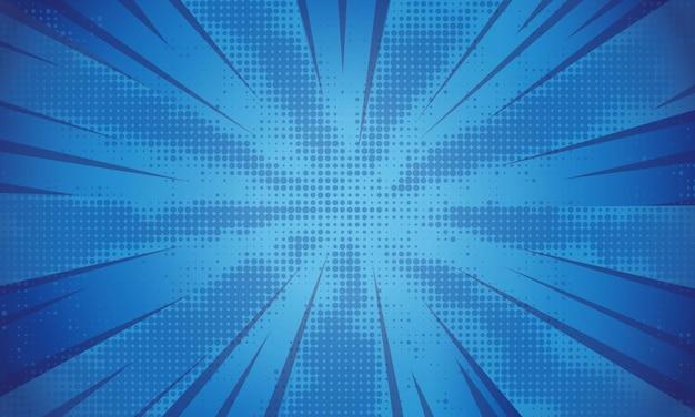 Blauwe stijlvolle halftone komische zoomachtergrond
