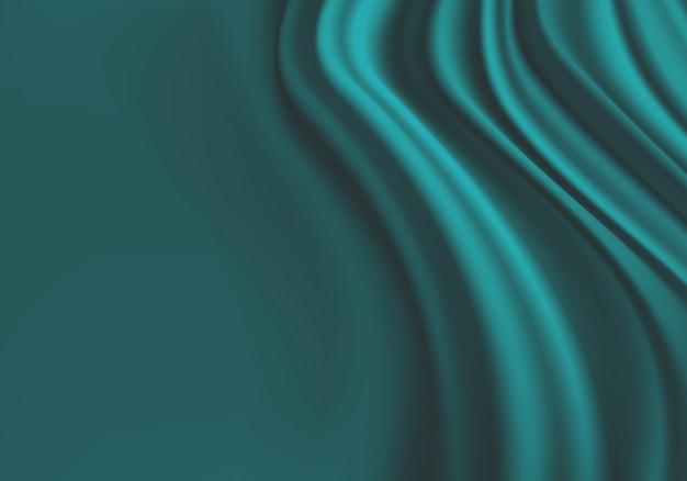 Blauwe stoffengordijngolf met zwarte ruimteachtergrond