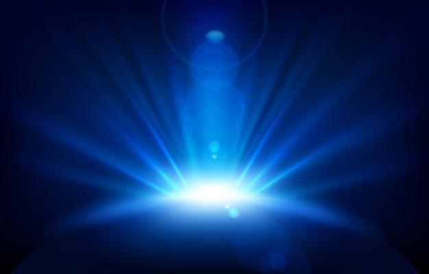Blauwe stralen met lensflare