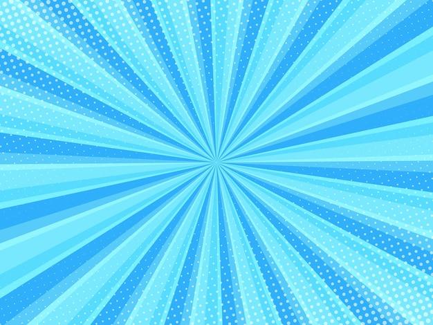 Blauwe strip cartoon achtergrond met halftone pop-art stijl effect