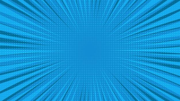 Blauwe stripboekpagina-achtergrond in pop-artstijl met lege ruimte. sjabloon met stralen, stippen en halftone effect textuur. vector illustratie