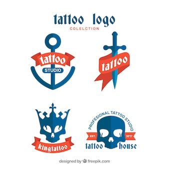 Blauwe tattoo logo collectie
