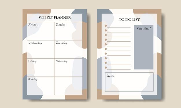 Blauwe taupe pastel abstracte vorm wekelijkse planner takenlijst set afdrukbaar