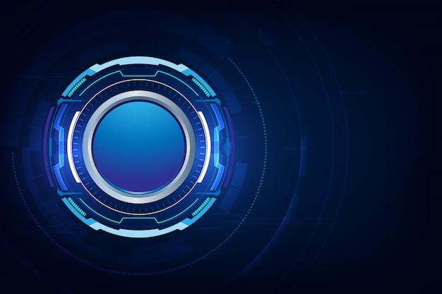 Blauwe technologie knop achtergrond