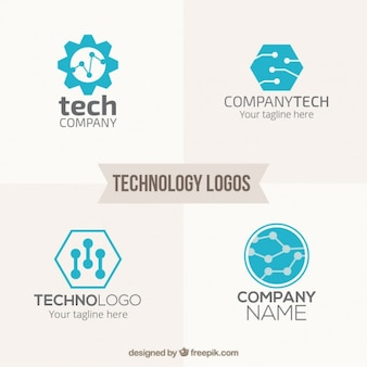 Blauwe technologie logo pack