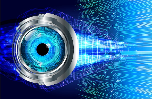 Blauwe technologie van de oog cyber kring toekomstige technologie
