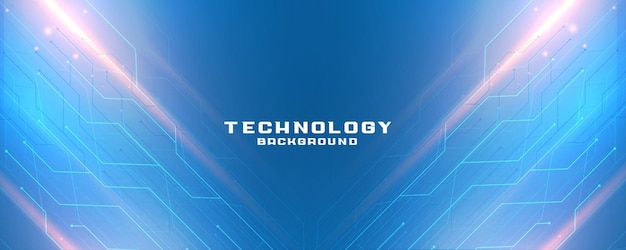 Blauwe technologiebanner met diagram van circuitlijnen