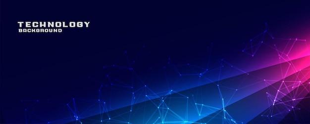 Blauwe technologiebanner met verbindingsgaas en lichtstreep