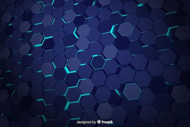 Blauwe technologische honingraatachtergrond Gratis Vector
