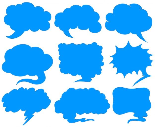 Blauwe tekstballonnen in verschillende vormen