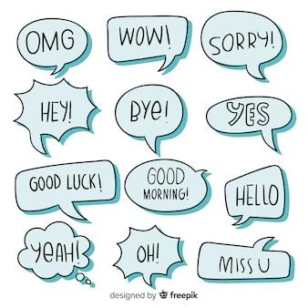 Blauwe tekstballonnen met verschillende uitdrukkingen